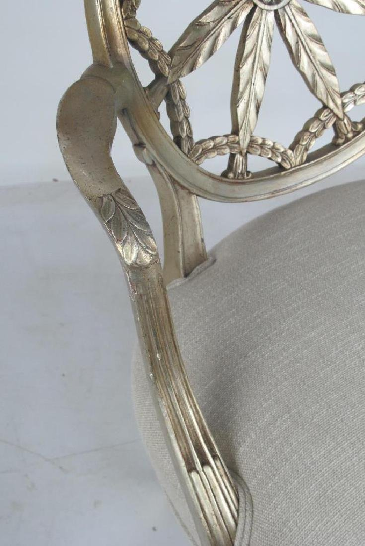 Antique Silver Leaf Carved Armchair - 3