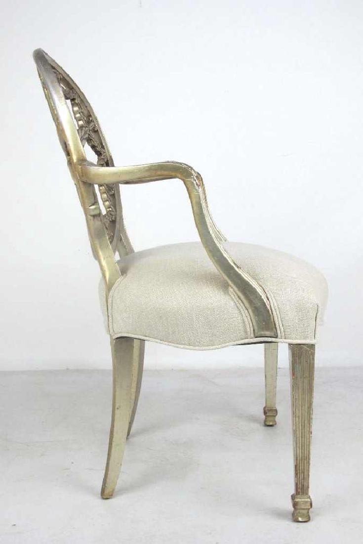 Antique Silver Leaf Carved Armchair - 6