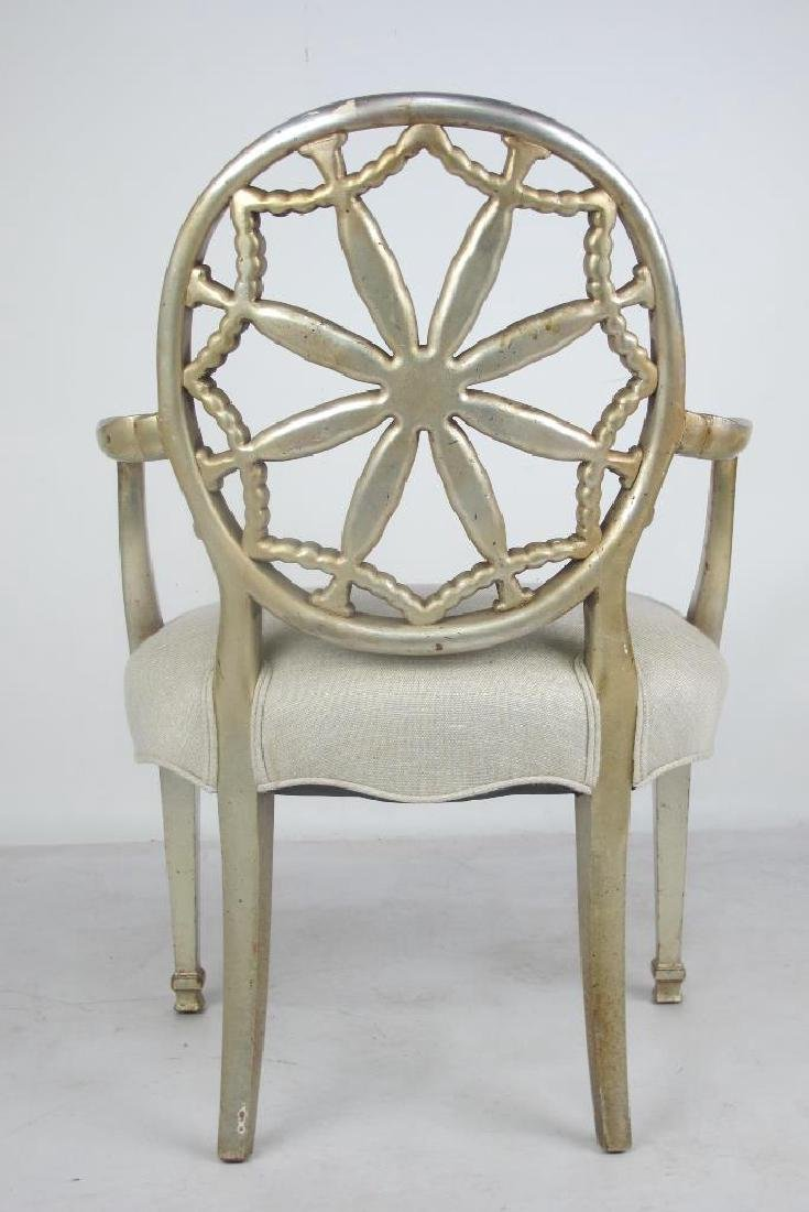 Antique Silver Leaf Carved Armchair - 7