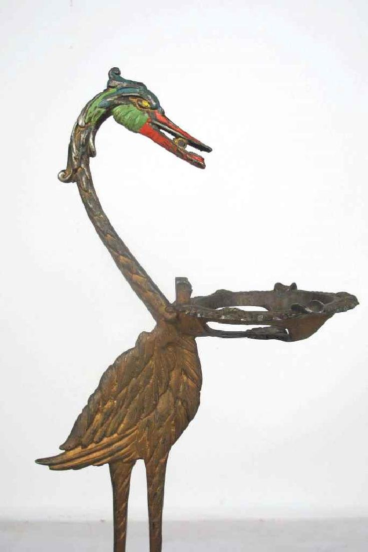 Art Deco Polychrome Painted Bird Stand - 5