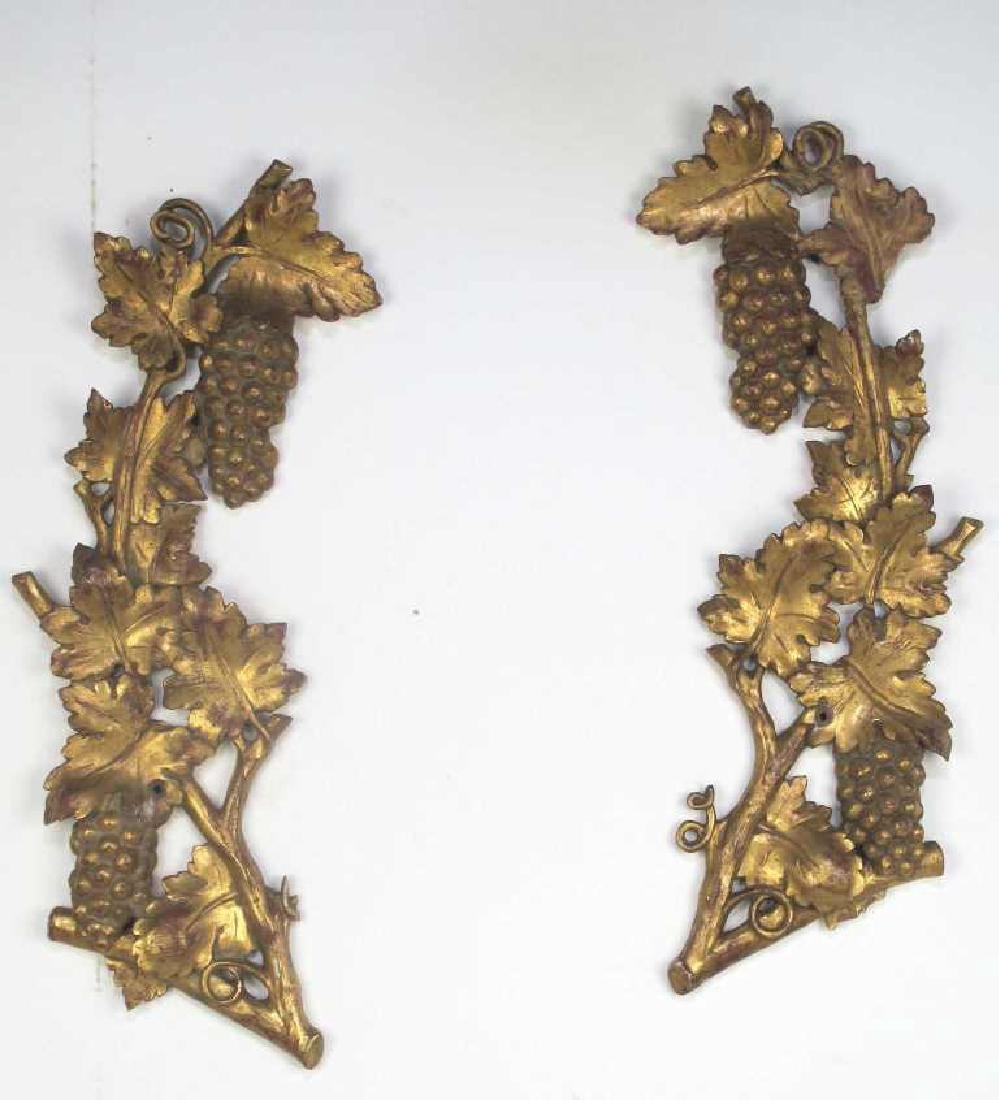 Pair Large Gilt Wood Fragment