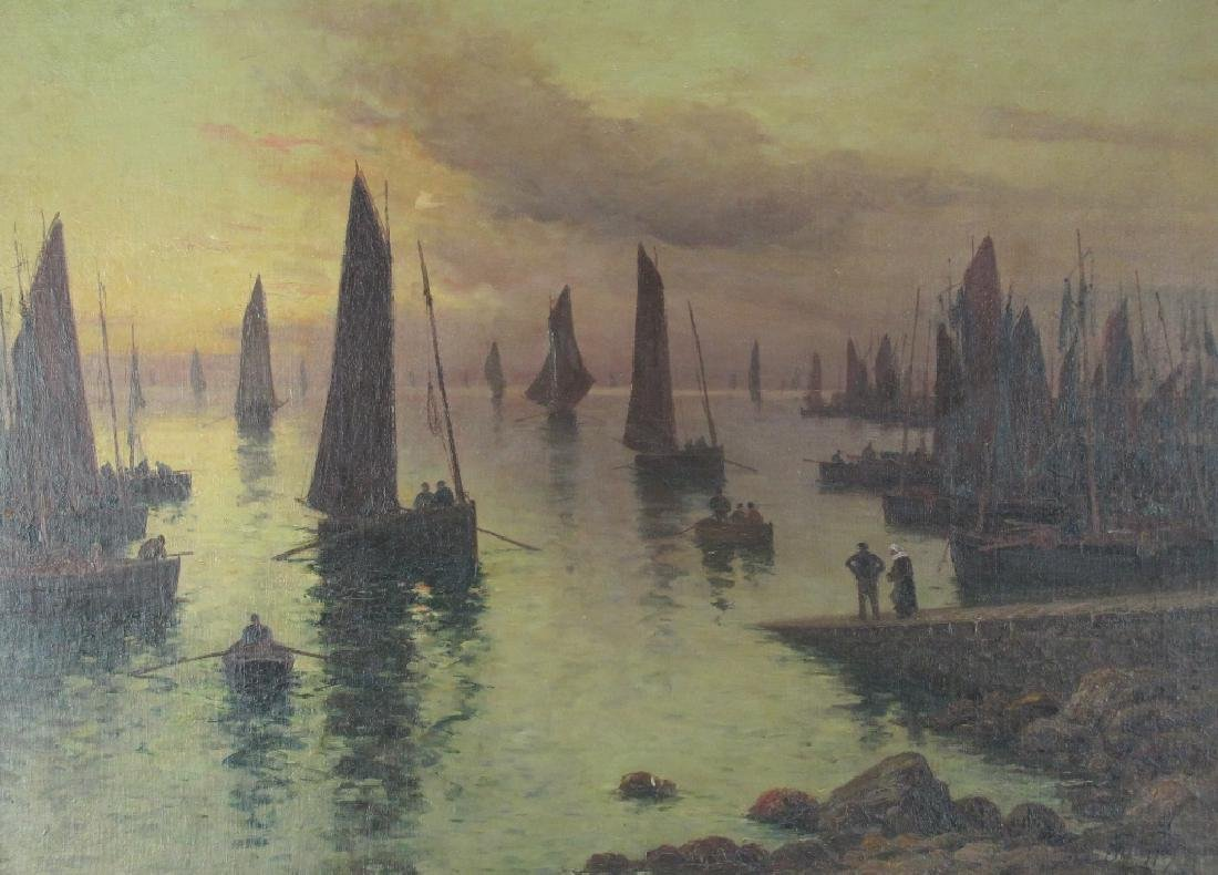 Oil on Panel of Port Scene - 2