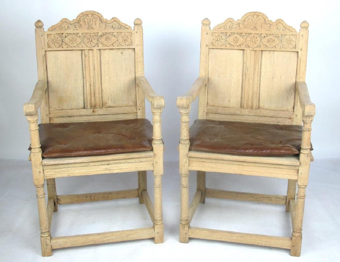 Pair of 19th C. Bleached Oak Armchairs