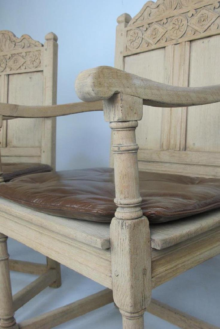 Pair of 19th C. Bleached Oak Armchairs - 4