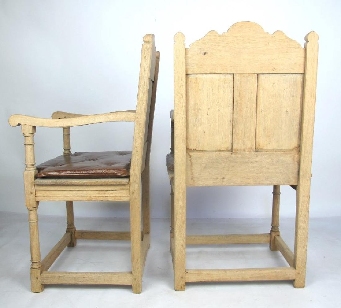 Pair of 19th C. Bleached Oak Armchairs - 7