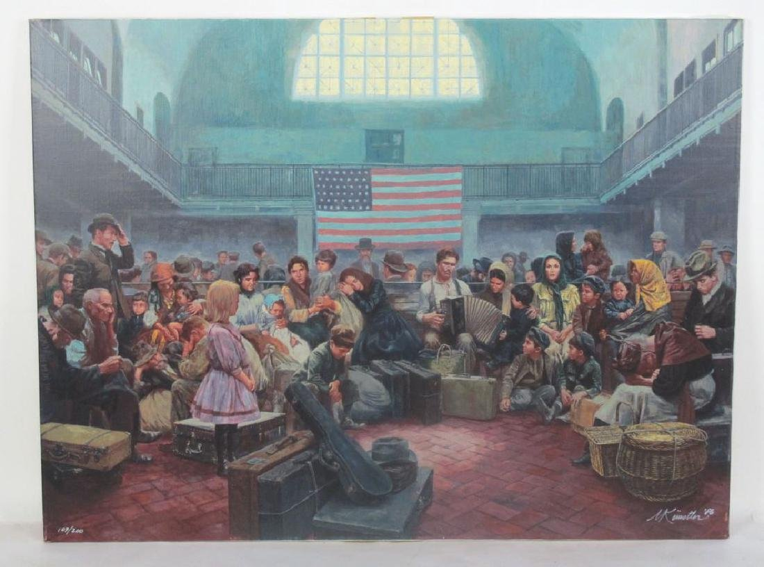 Mort Kunstler Signed Ellis Island Serigraph