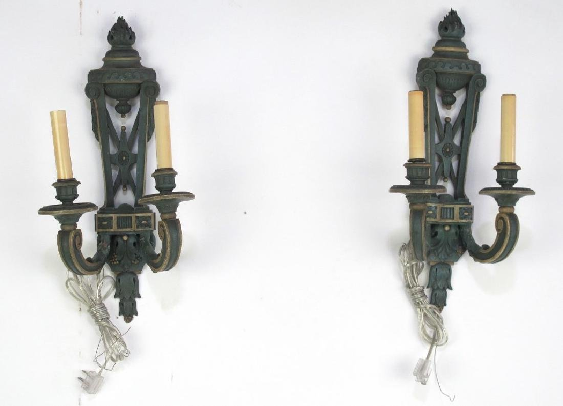 Pair Fine Late 19th C. French Wood Carved Sconces