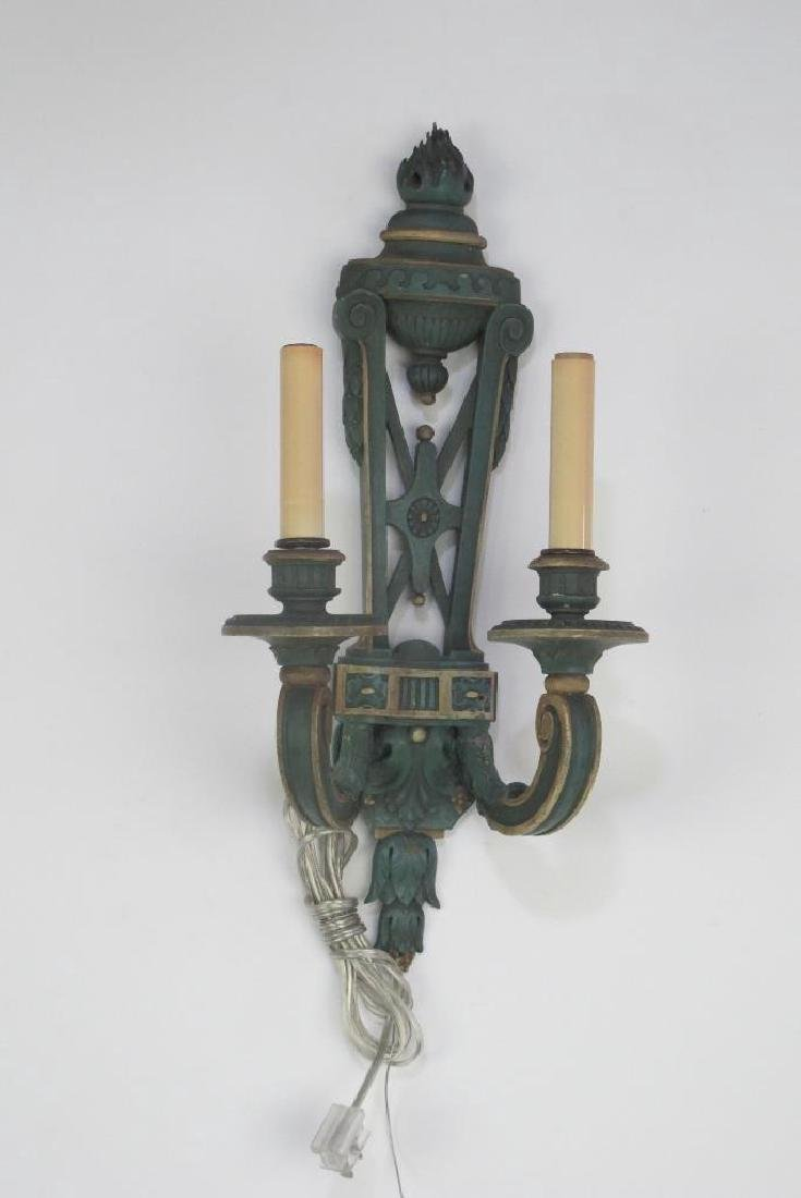 Pair Fine Late 19th C. French Wood Carved Sconces - 2