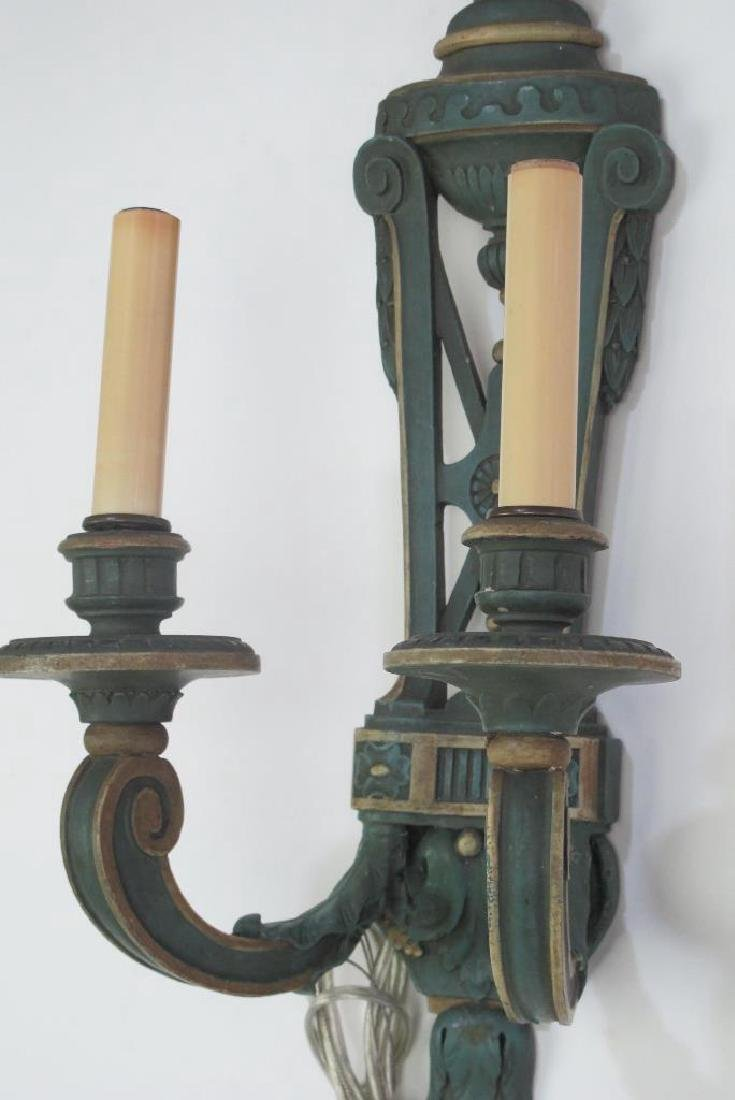 Pair Fine Late 19th C. French Wood Carved Sconces - 3