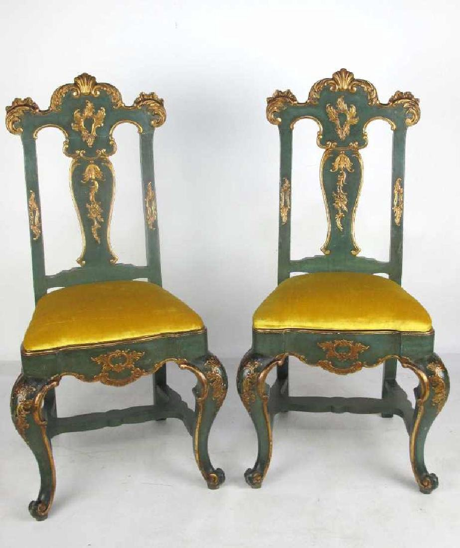 Pair 19th C. Continental Carved & Gilt Side Chairs