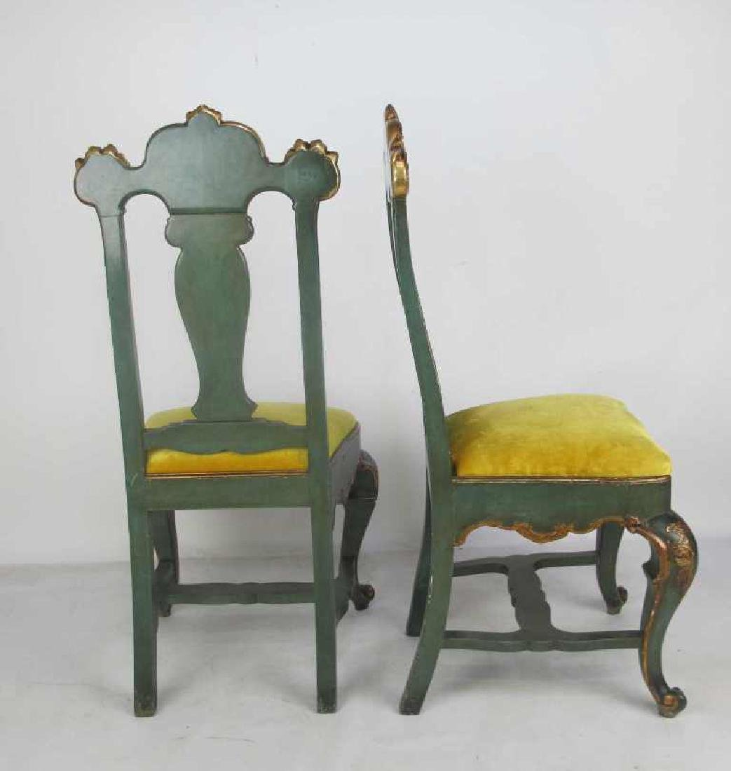 Pair 19th C. Continental Carved & Gilt Side Chairs - 6