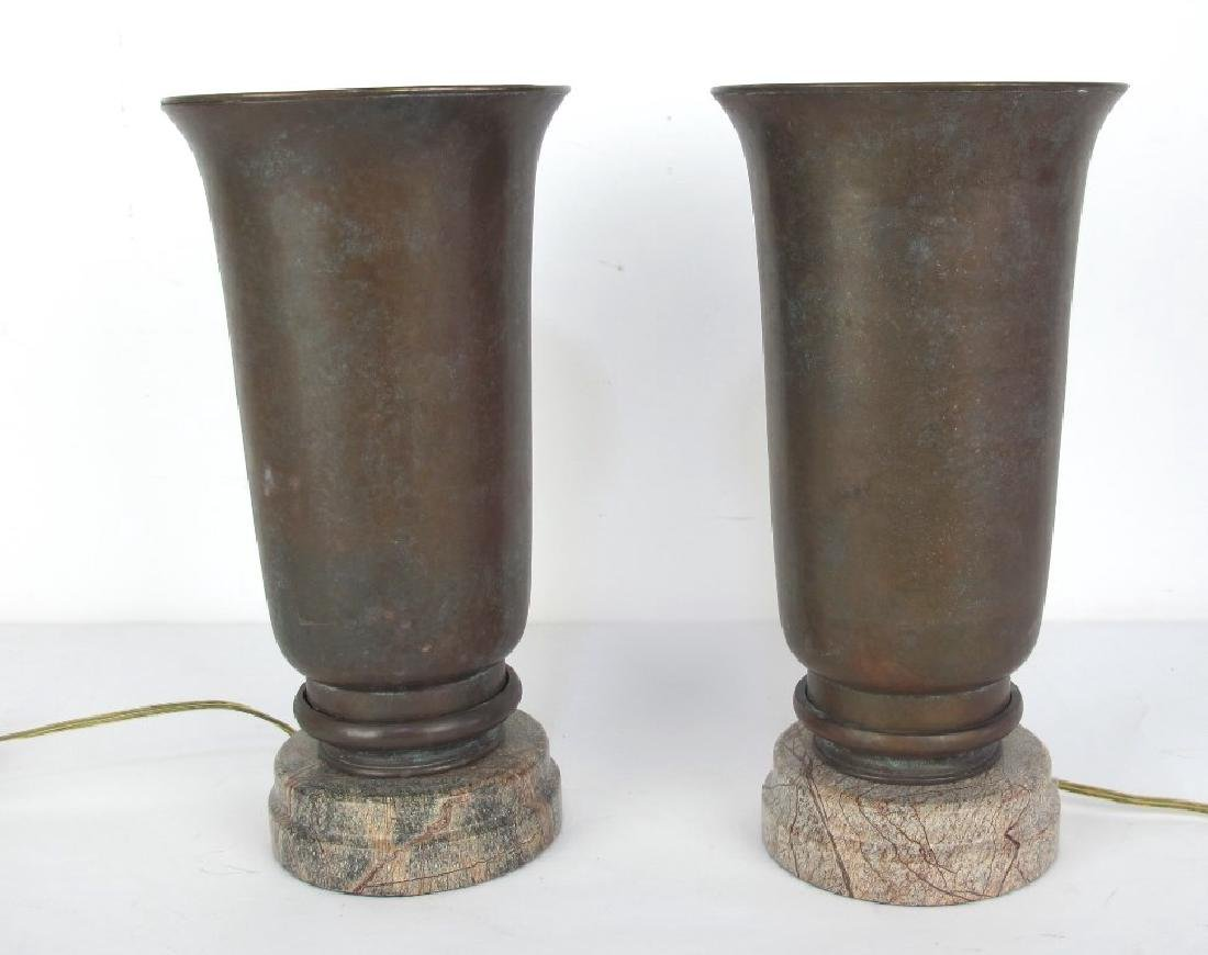 Pair of Bronze and Stone Lamps