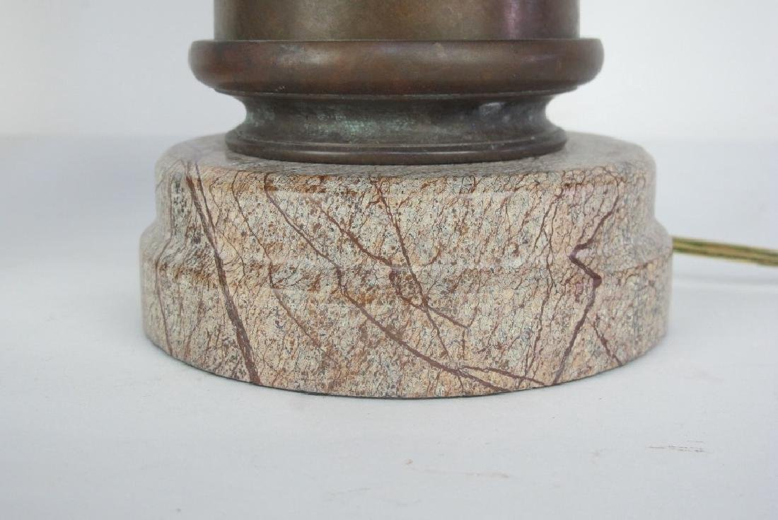 Pair of Bronze and Stone Lamps - 4