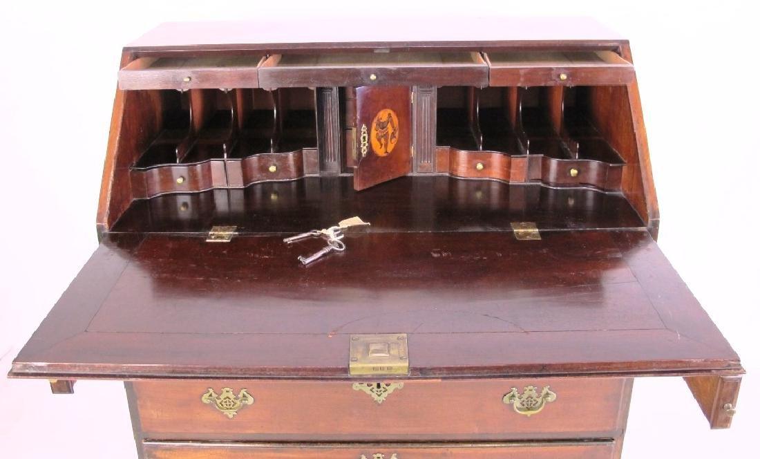 18th C. Mahogany Inlaid Slant Front Desk - 5