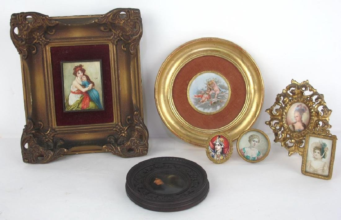 Group of Miniature Paintings, Porcelain Etc
