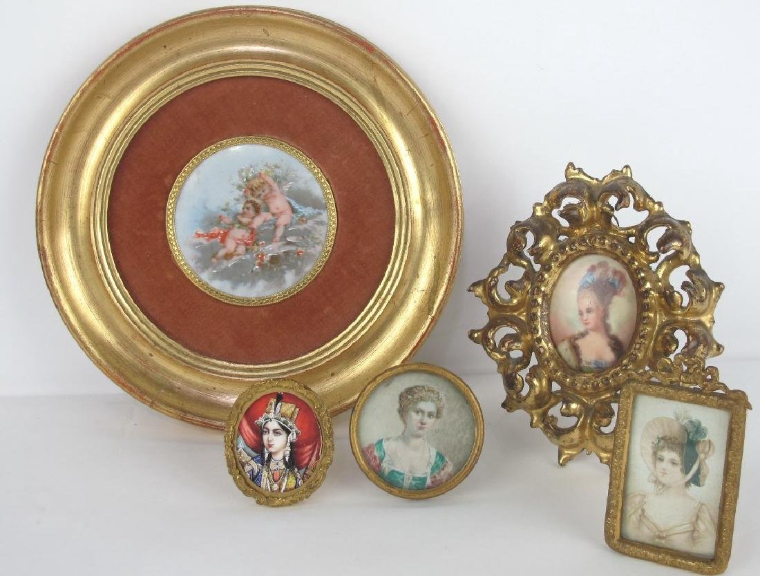 Group of Miniature Paintings, Porcelain Etc - 2