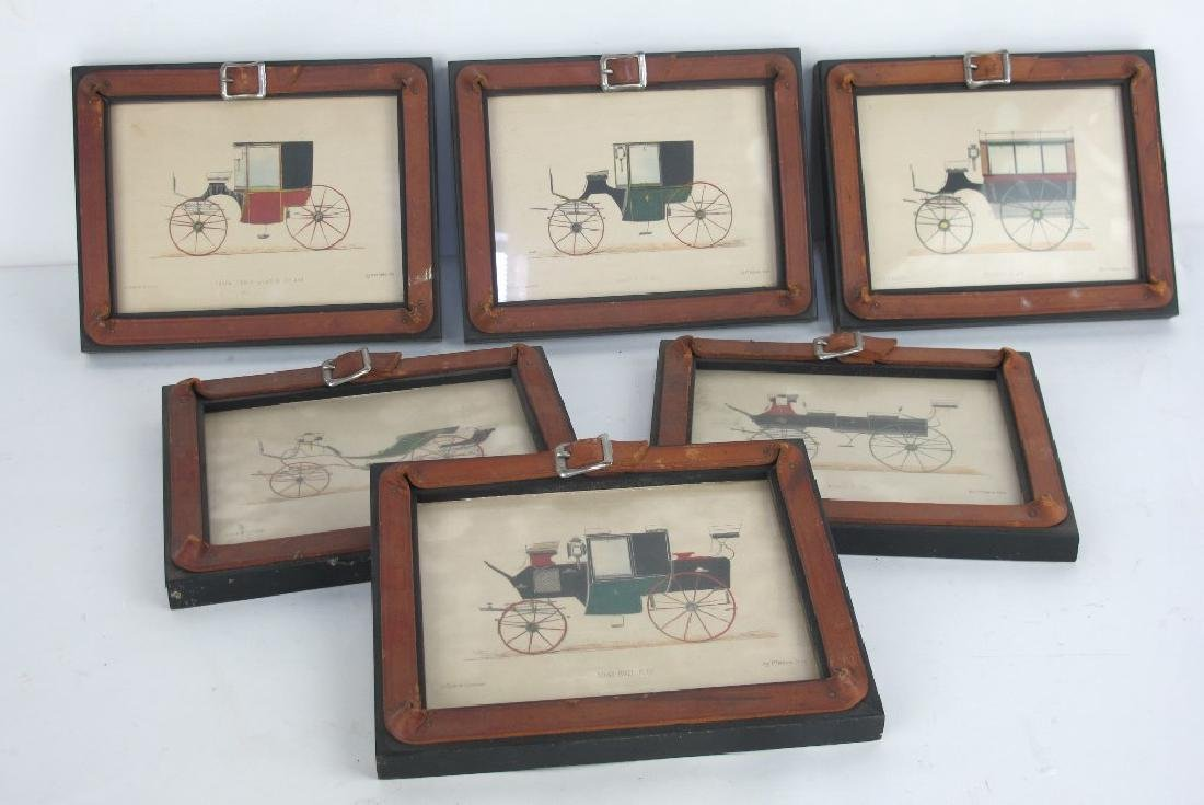 Six Framed Antique Prints of Early Automobiles