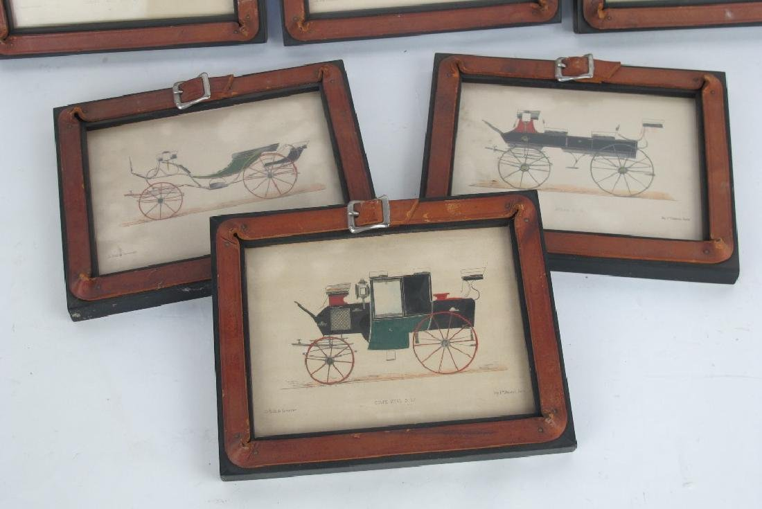 Six Framed Antique Prints of Early Automobiles - 5