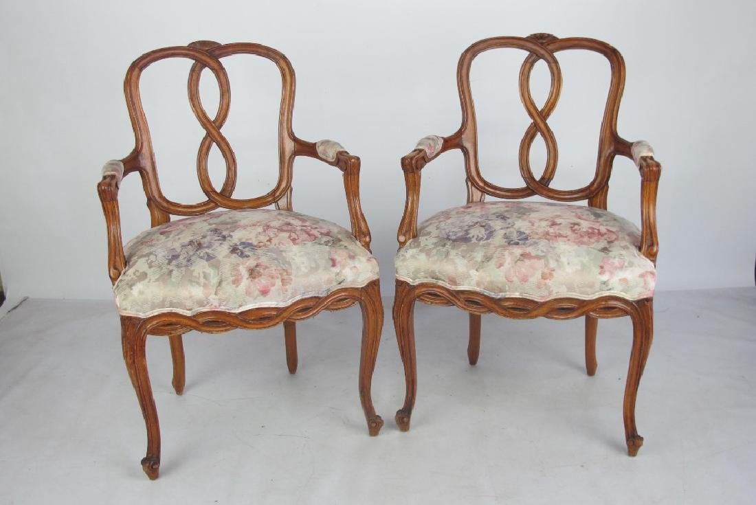 Pair of Italian Open Arm Chairs