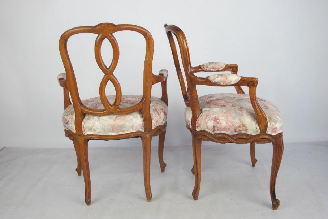 Pair of Italian Open Arm Chairs - 7