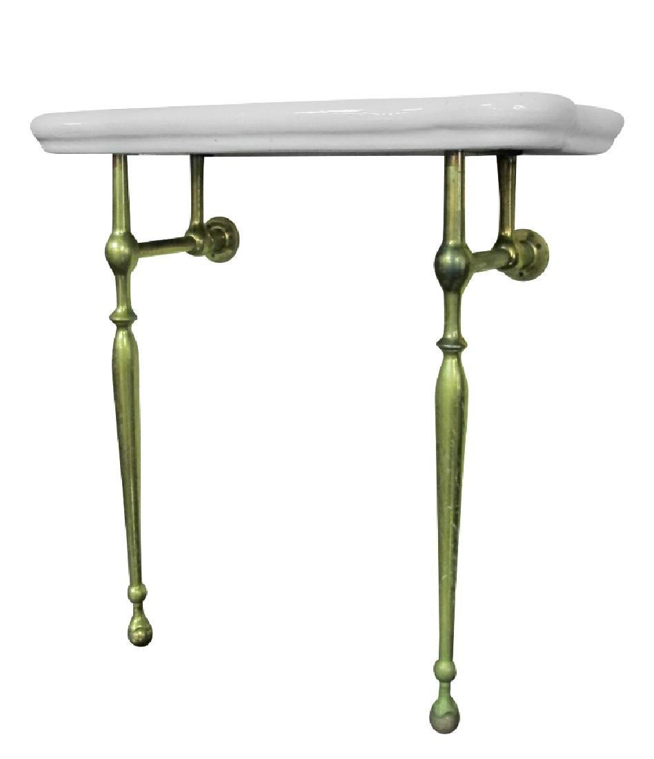Vintage Brass and Ceramic Bathroom Table