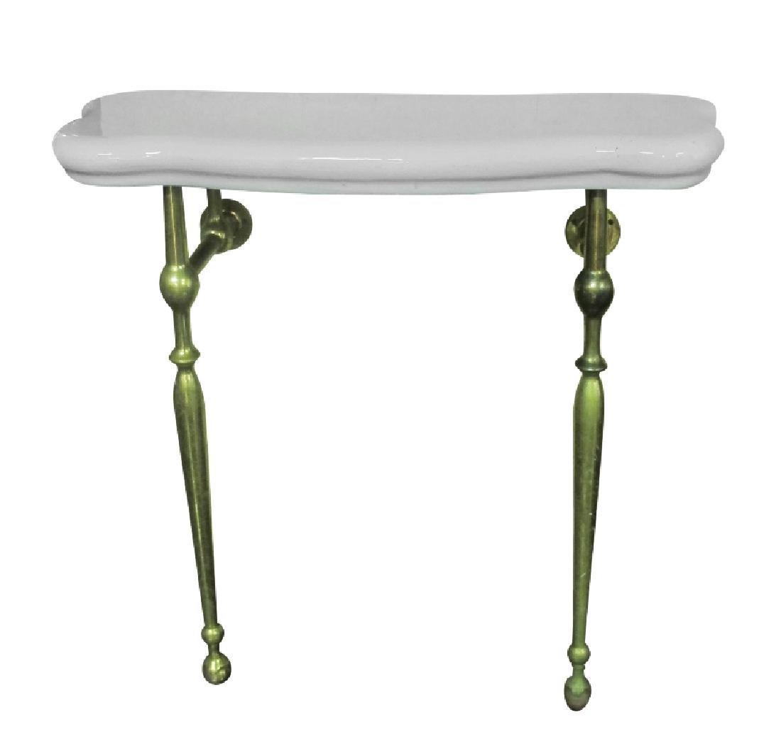 Vintage Brass and Ceramic Bathroom Table - 2