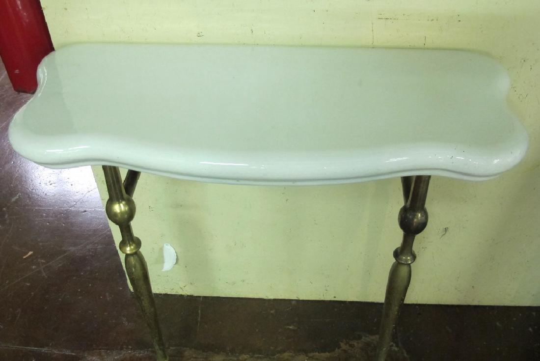 Vintage Brass and Ceramic Bathroom Table - 3