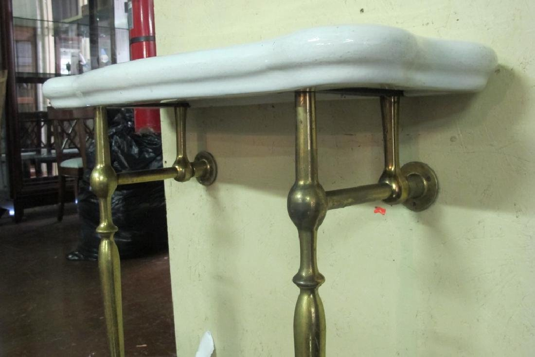 Vintage Brass and Ceramic Bathroom Table - 4