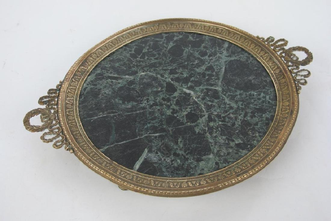 19th C. Empire Bronze & Marble Plate