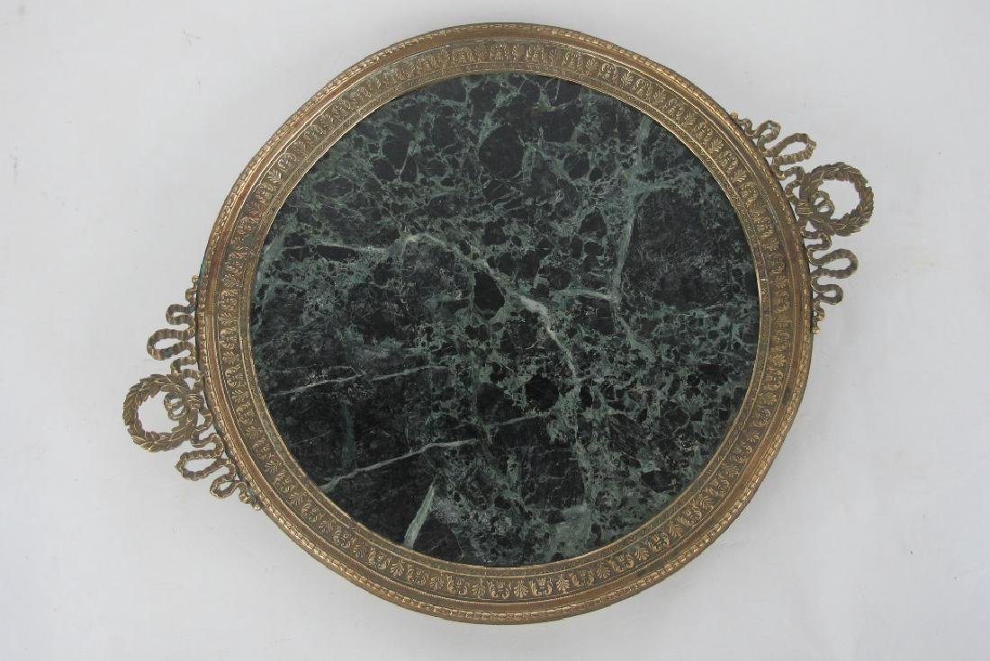 19th C. Empire Bronze & Marble Plate - 2