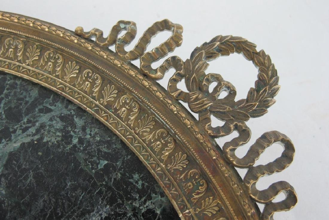 19th C. Empire Bronze & Marble Plate - 4