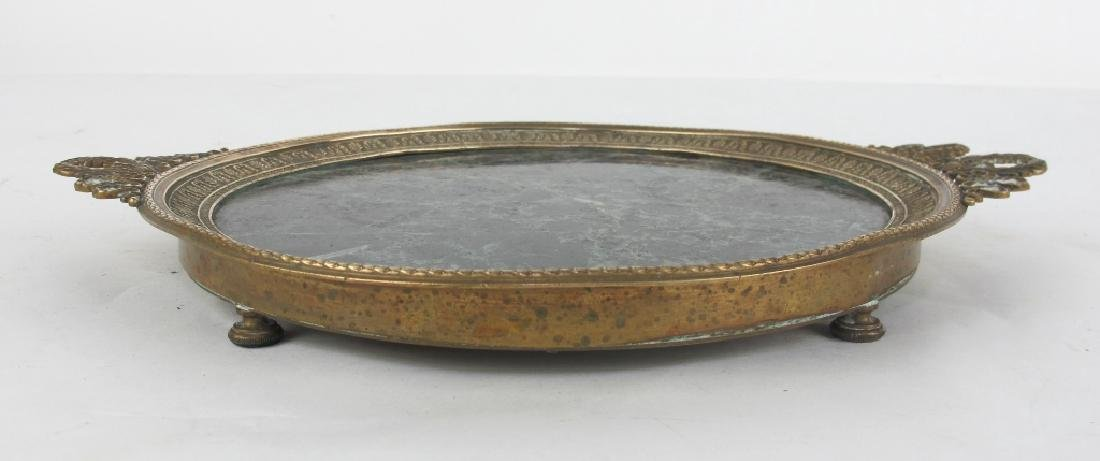19th C. Empire Bronze & Marble Plate - 6