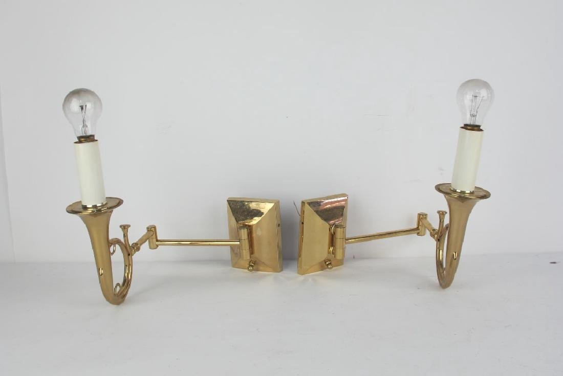 Pair of Brass Trumpet Form Wall Sconces
