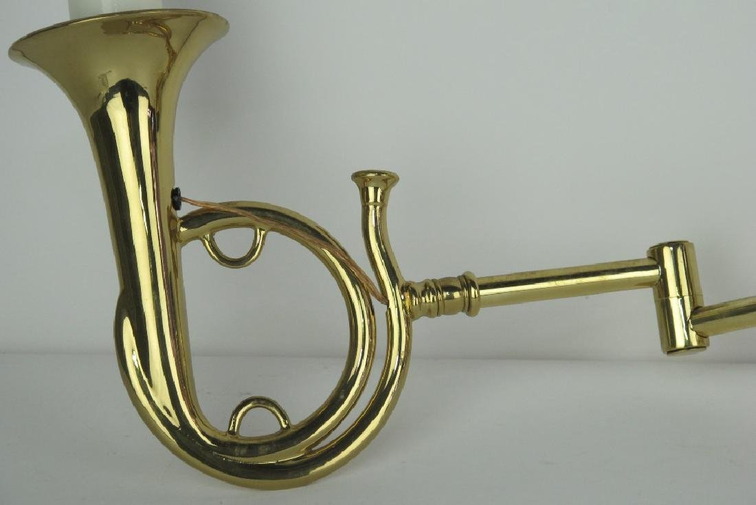 Pair of Brass Trumpet Form Wall Sconces - 3