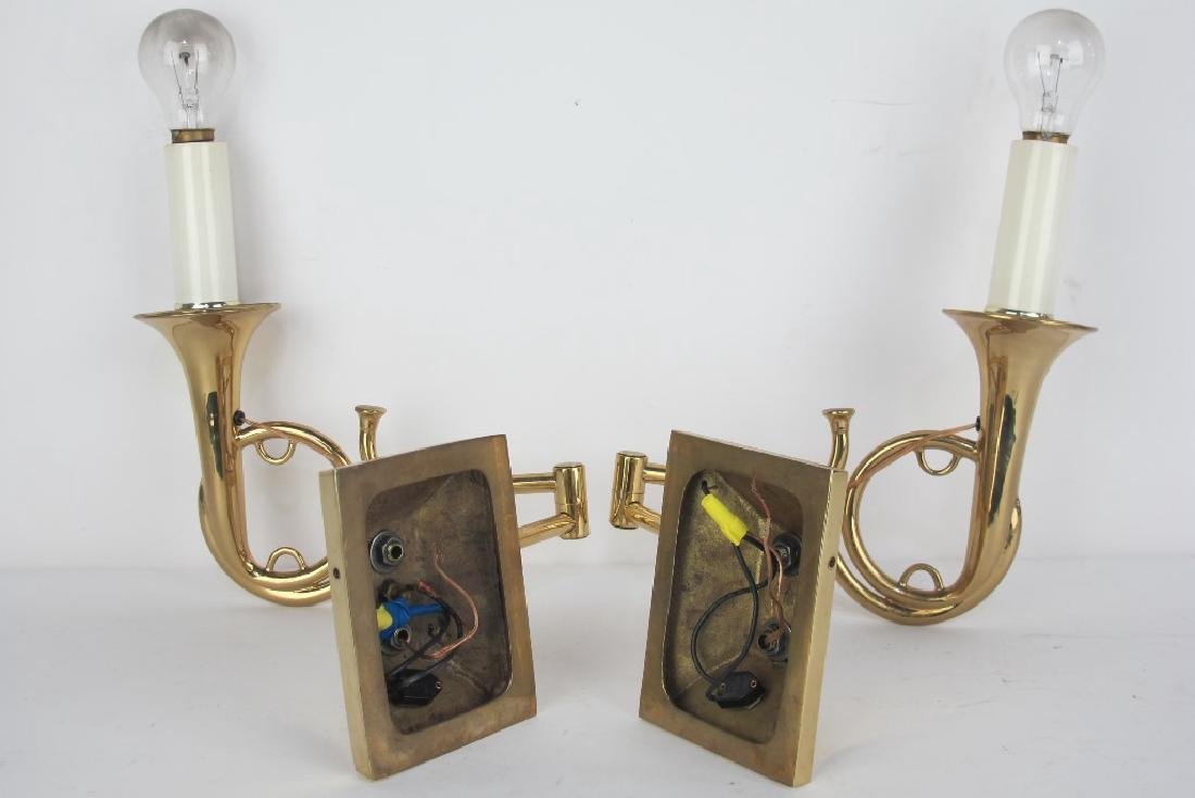 Pair of Brass Trumpet Form Wall Sconces - 5