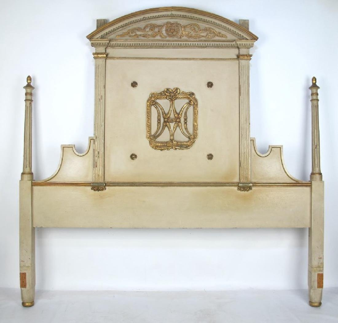 French Carved Gilt and Painted Headboard