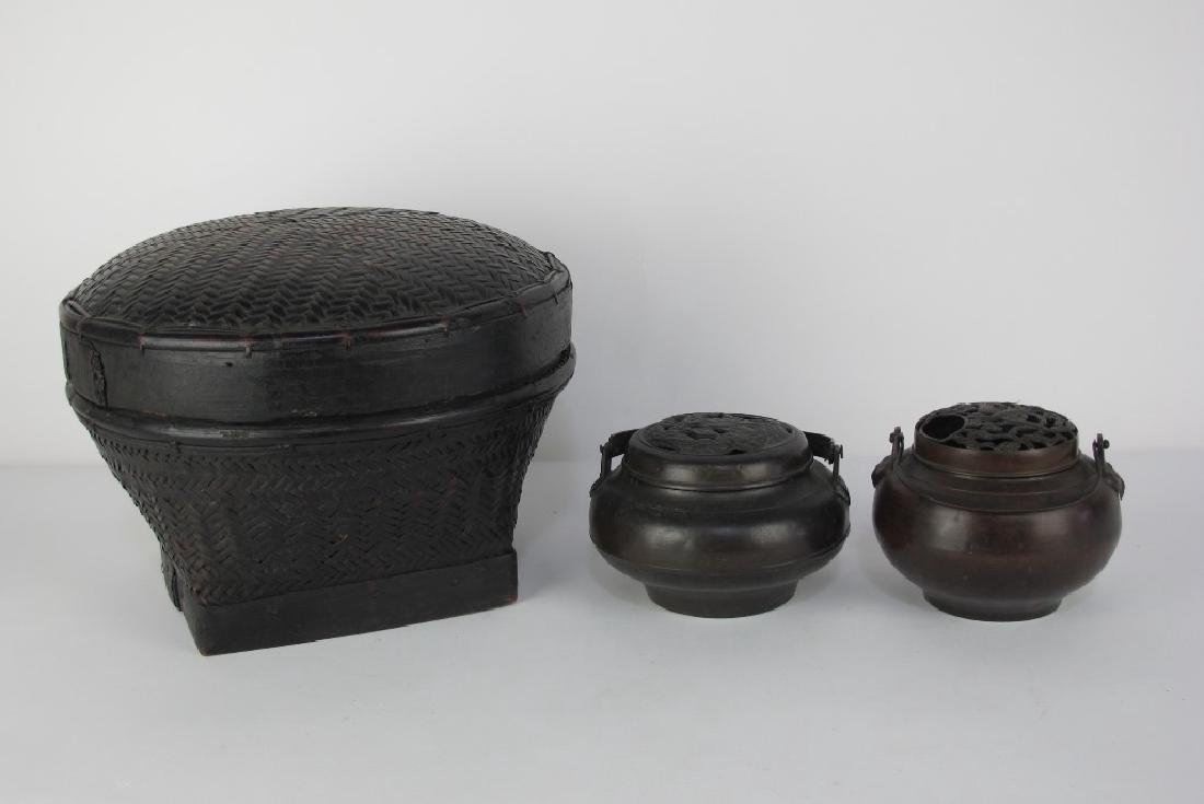 Chinese Antique Basket/ Bronze Censors