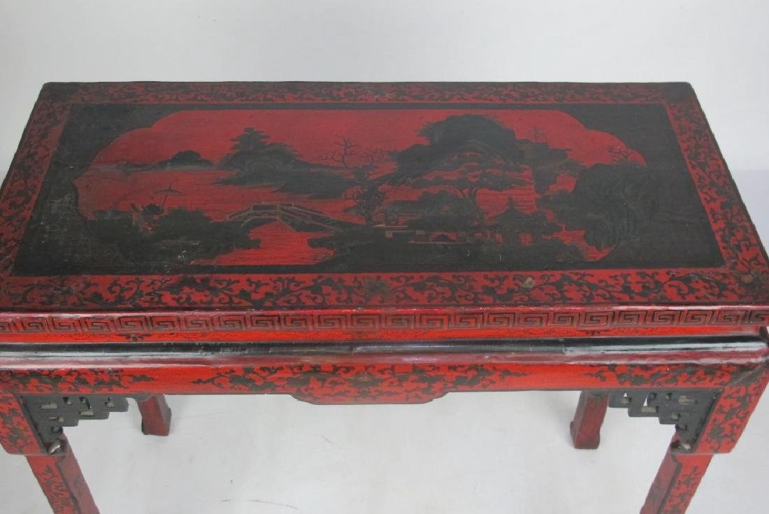 19th C. Chinese Red Lacquer Console - 2