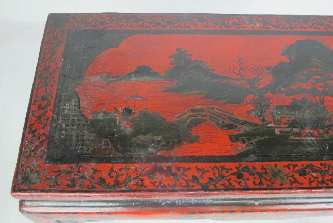 19th C. Chinese Red Lacquer Console - 3