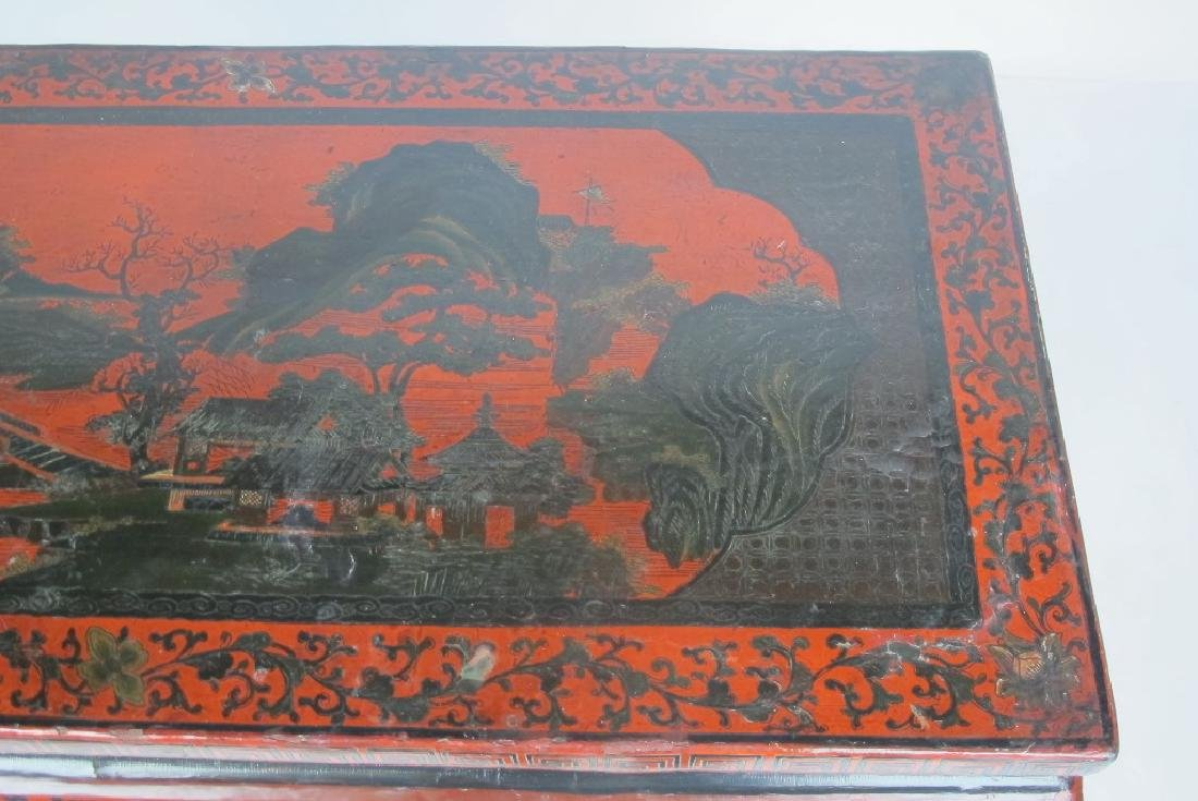 19th C. Chinese Red Lacquer Console - 4