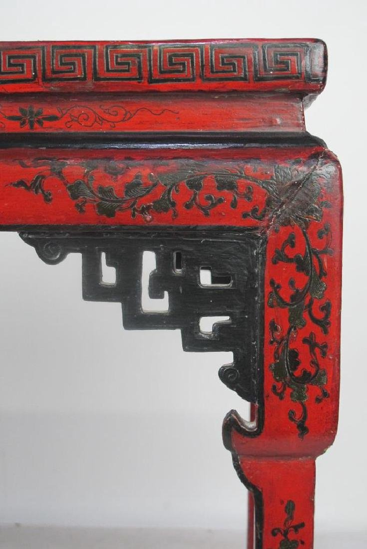19th C. Chinese Red Lacquer Console - 5