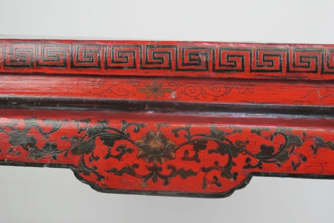 19th C. Chinese Red Lacquer Console - 6