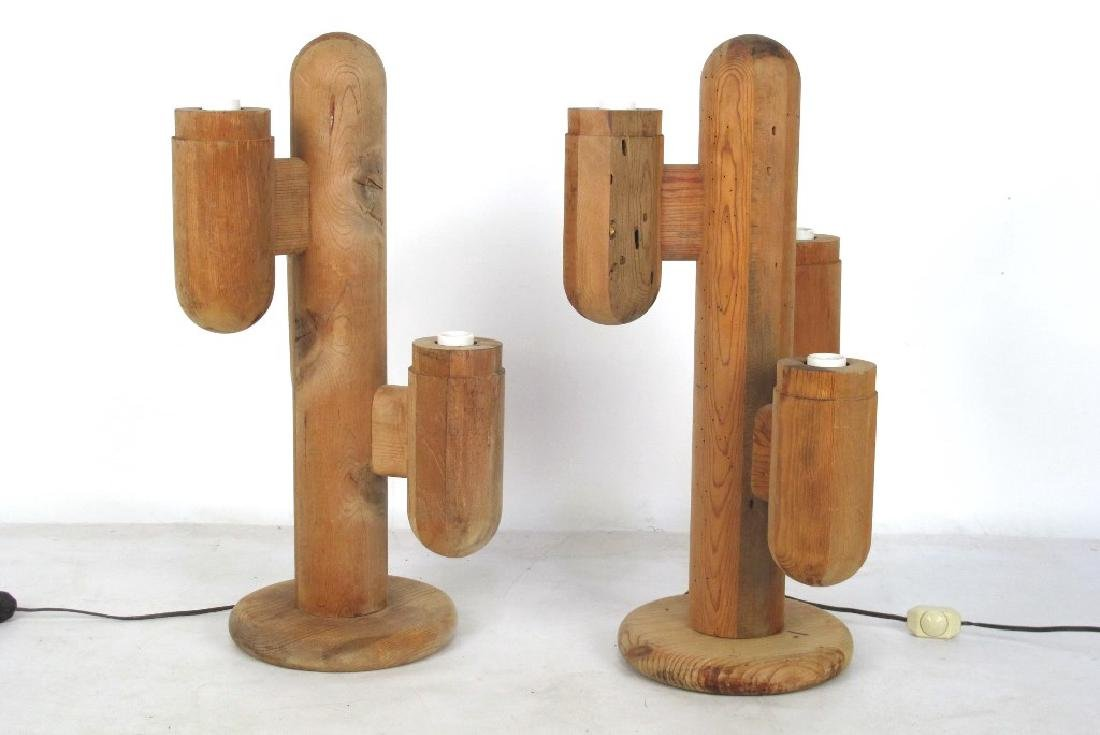 Pair Mid Century Cactus Lamps