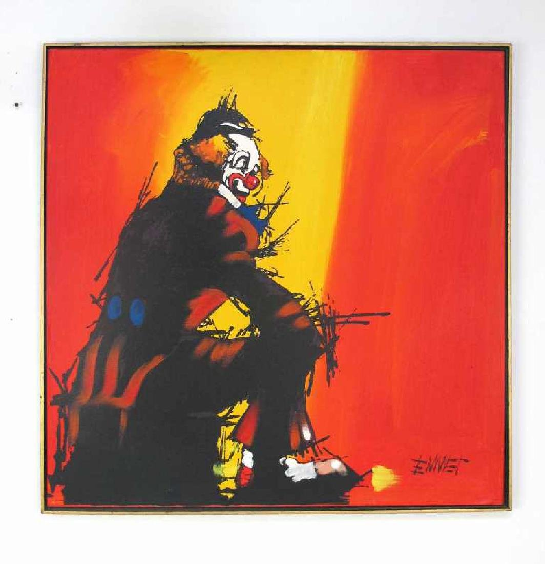 Oil on Canvas Clown Painting Signed Emmet