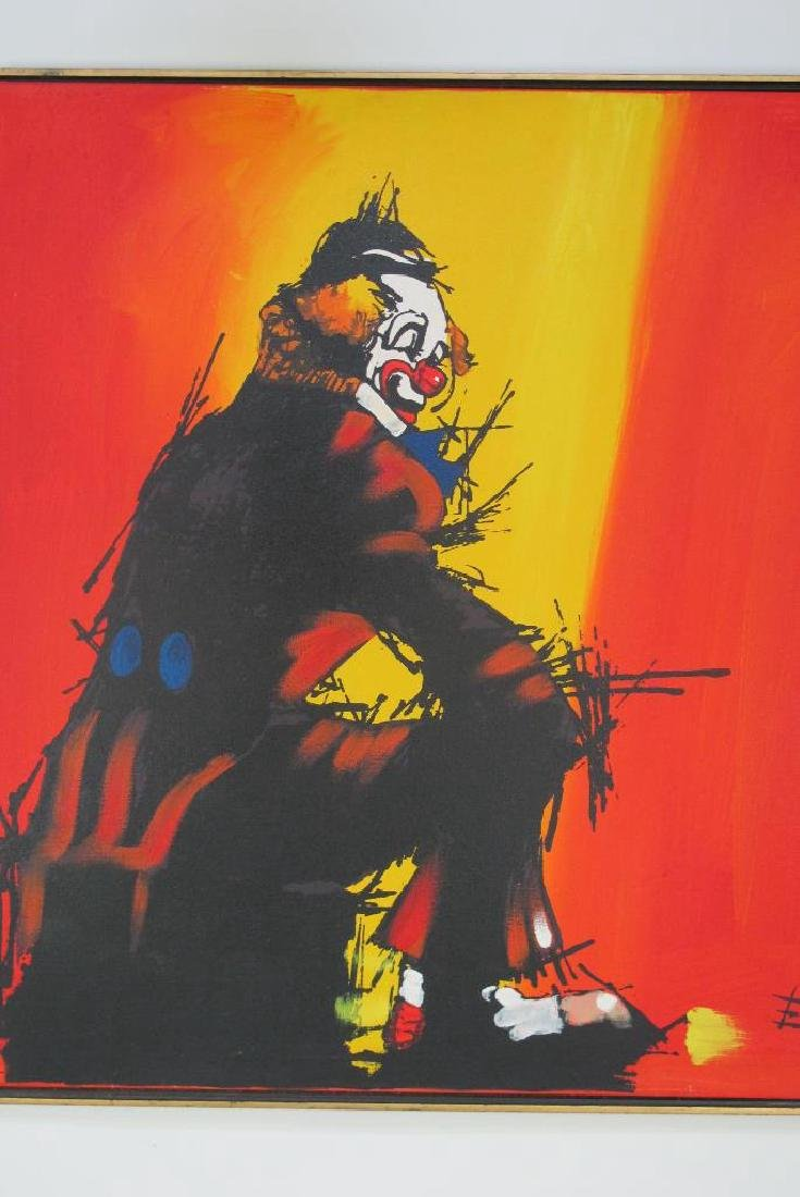 Oil on Canvas Clown Painting Signed Emmet - 2