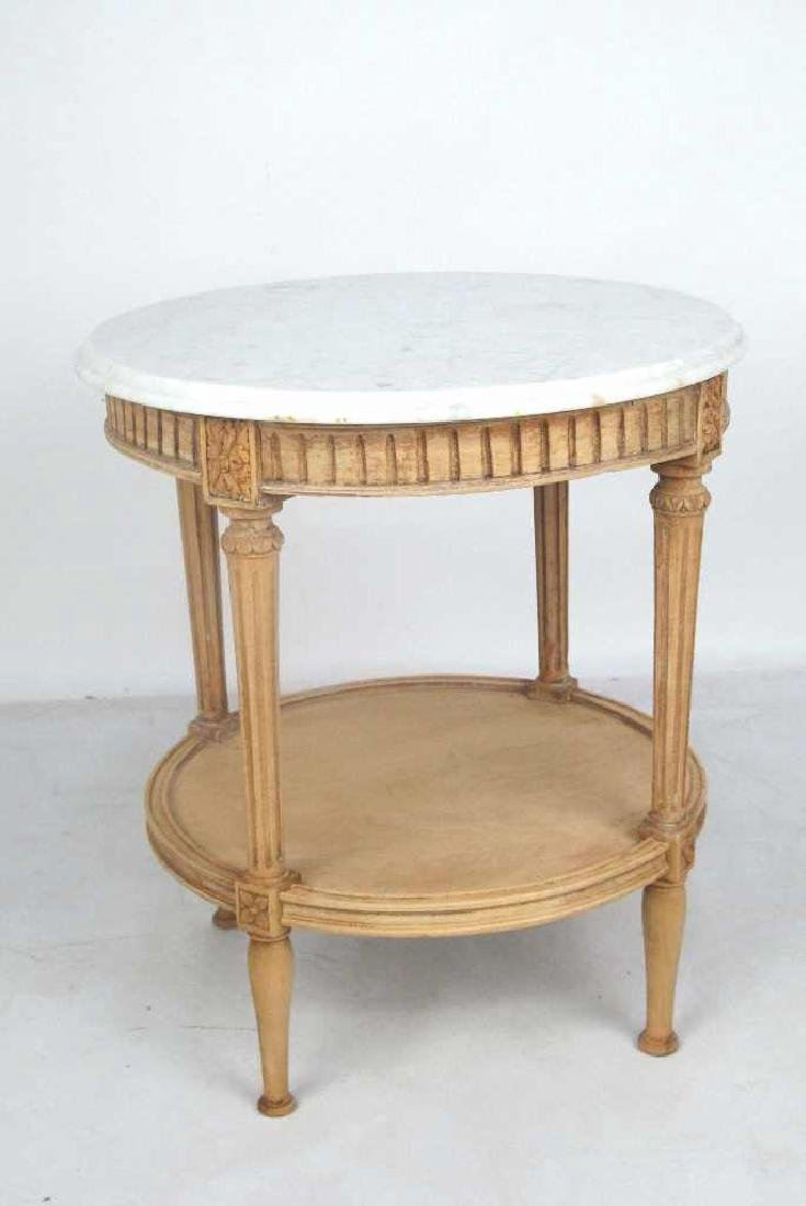 French Bleached Walnut Marble Top Table