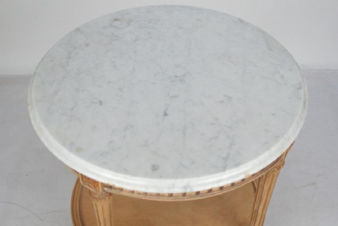 French Bleached Walnut Marble Top Table - 2