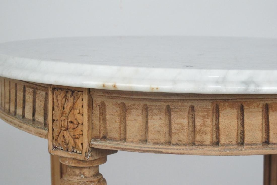 French Bleached Walnut Marble Top Table - 4