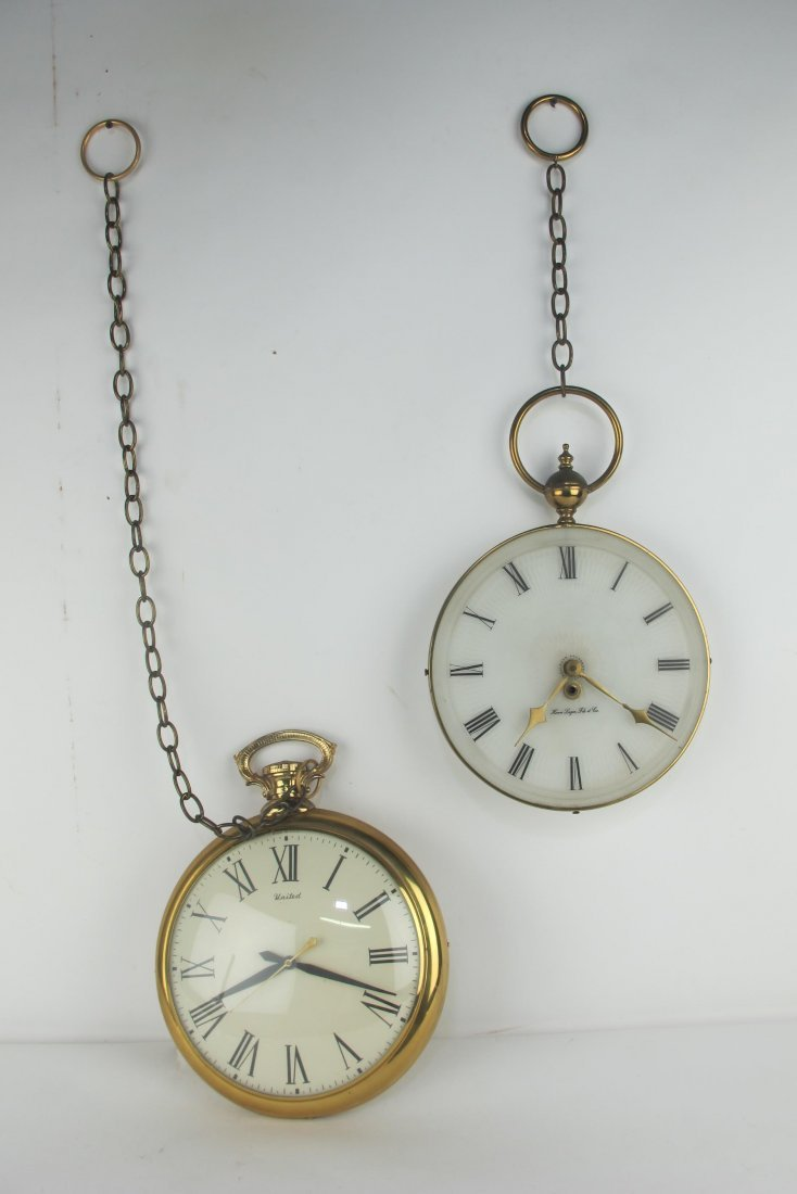 Two Vintage Pocket Watch Style Wall Clocks