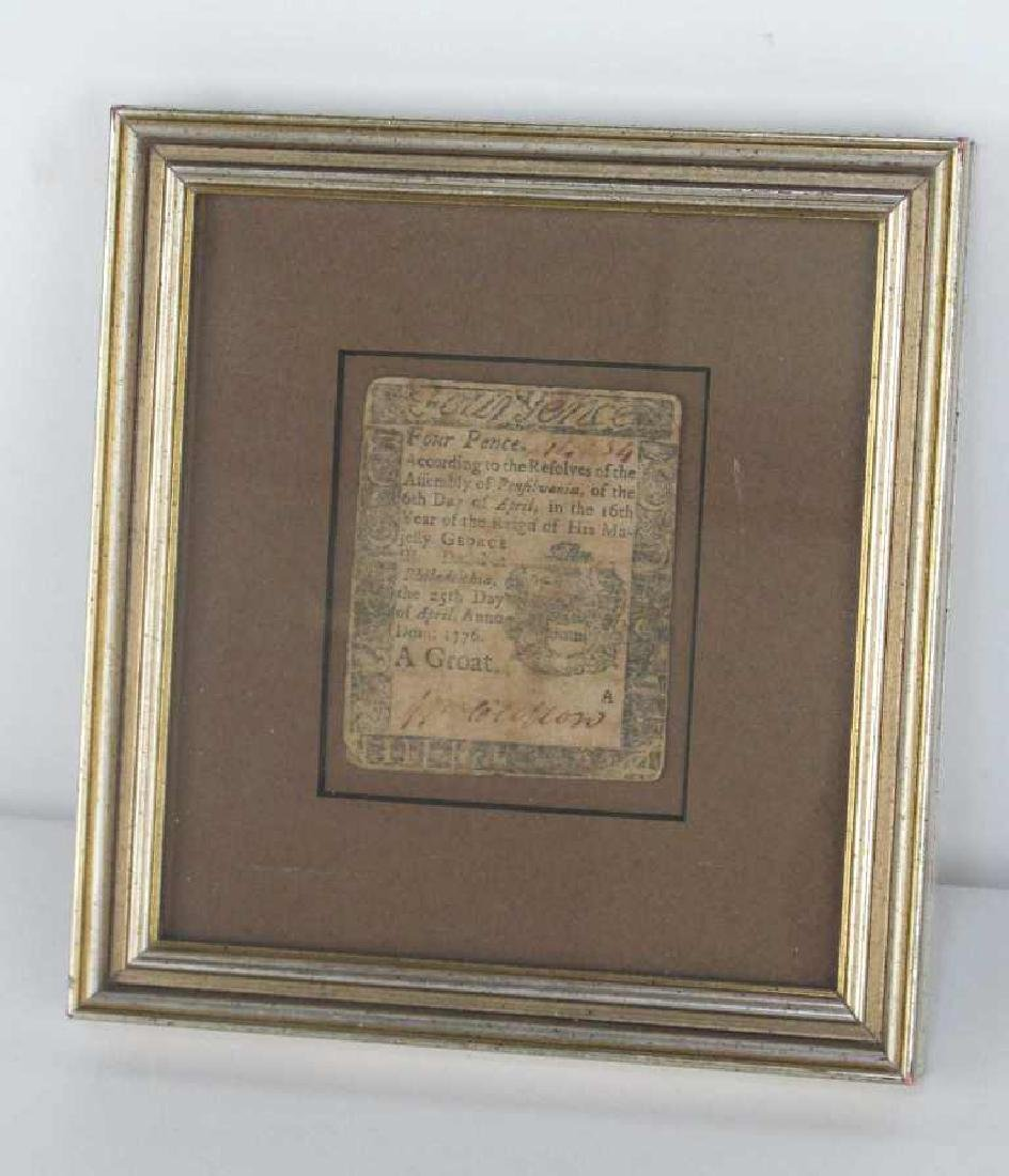 Four Pence Colonial Note Dated 1776